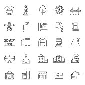 infrastructure and city elements icon set. Line with editable stroke