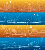 Infrastructure and transport panoramic set. Road overpass. Pedestrian bridge. Train rides. Towers and skyscrapers. Urban scene, modern city on background. White lines, vector design art