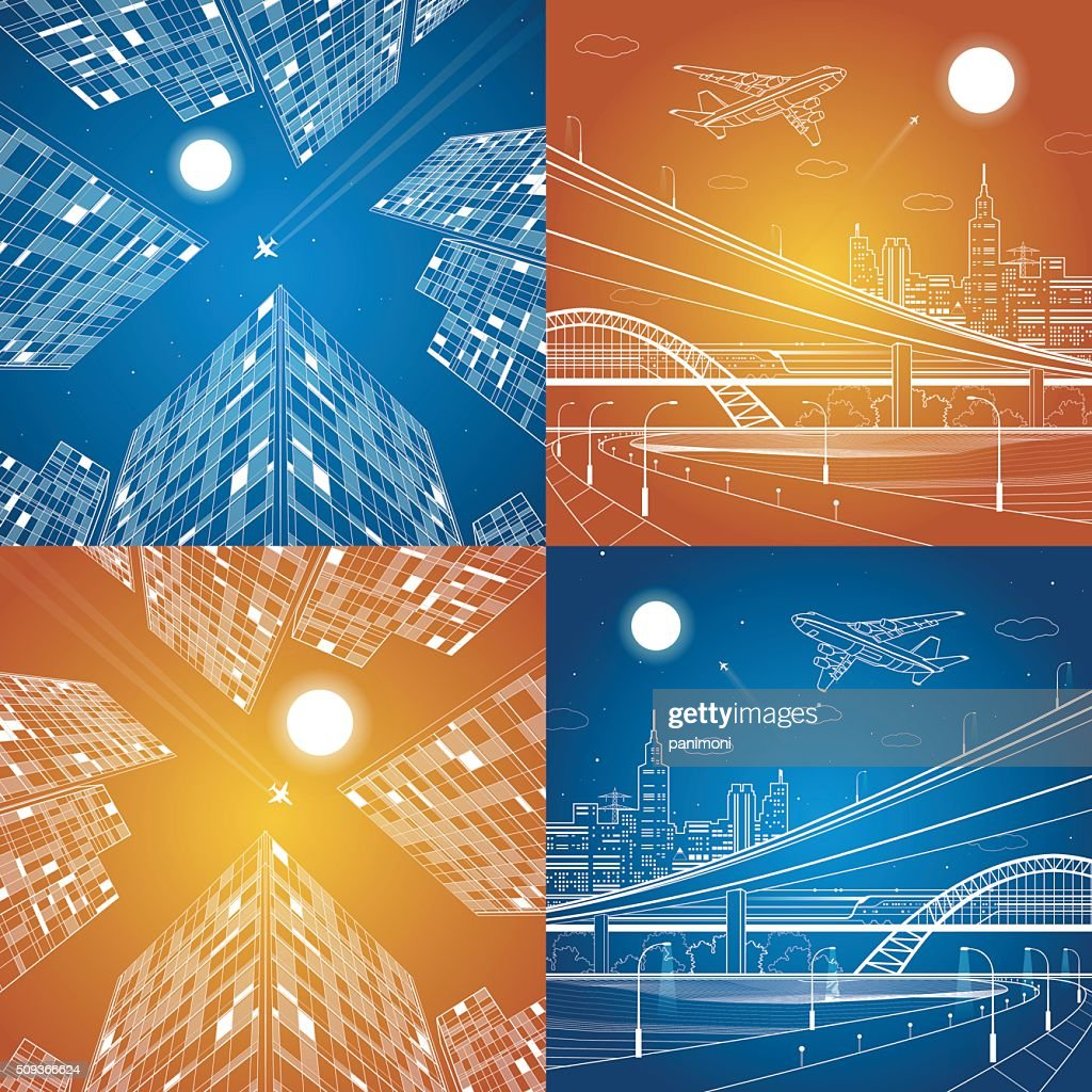 Infrastructure and transportation illustration, vector set