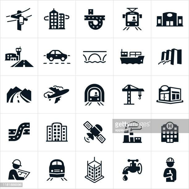 infrastructure icons - downtown district stock illustrations