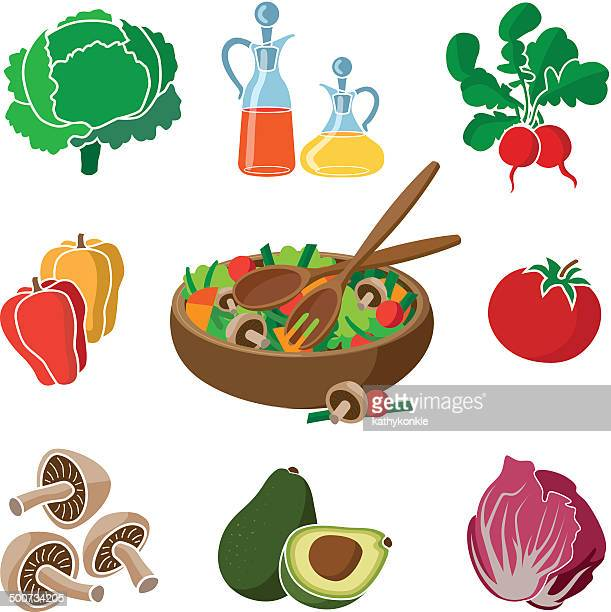ingredients for a salad - chicory stock illustrations, clip art, cartoons, & icons