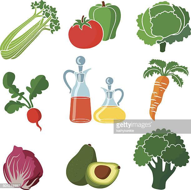 ingredients for a salad - endive stock illustrations, clip art, cartoons, & icons