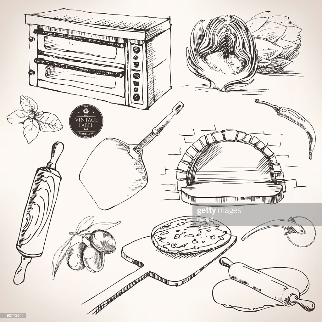 ingredients for pizza, vector drawing