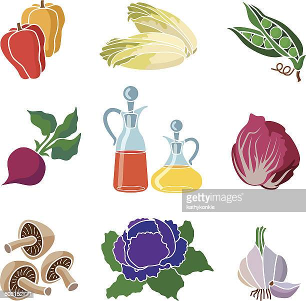 ingredients for salad icon set - red cabbage stock illustrations, clip art, cartoons, & icons