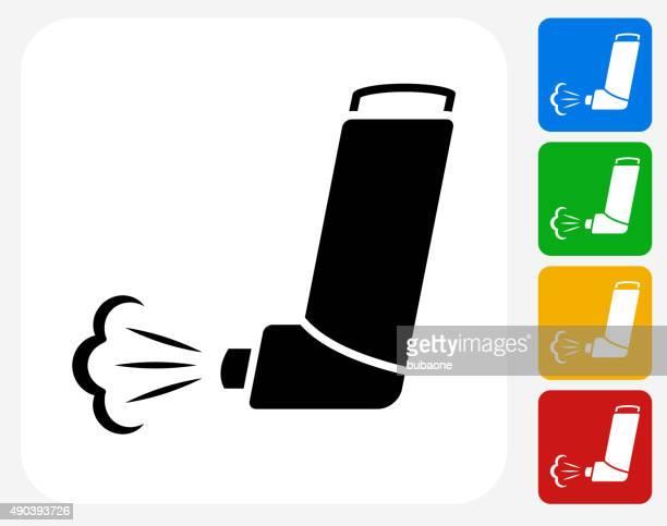 ilustrações de stock, clip art, desenhos animados e ícones de inalador ícone flat design gráfico - bomba para asma