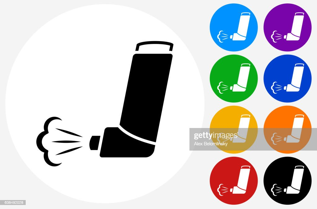 Inhaler Icon on Flat Color Circle Buttons