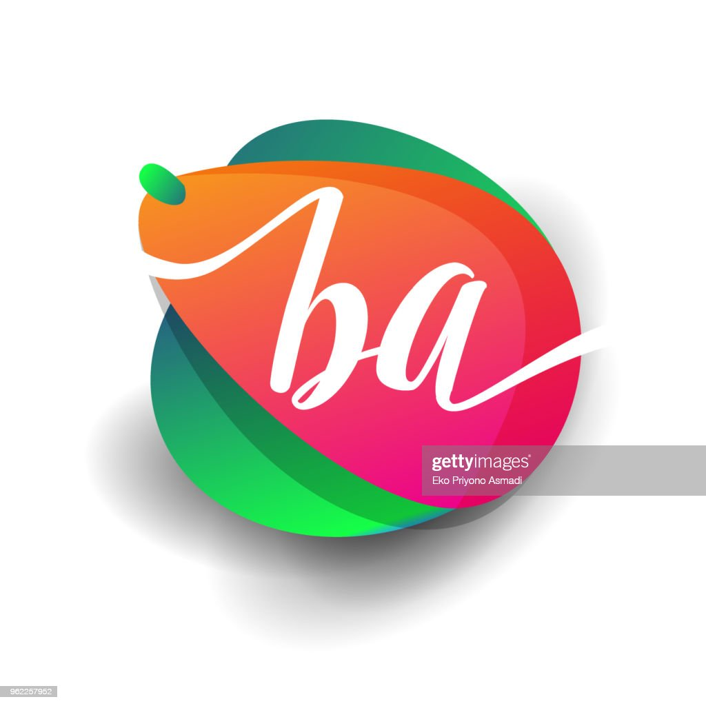 inital icon with colorful splash background.