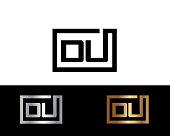 DU initial box shape icon designs