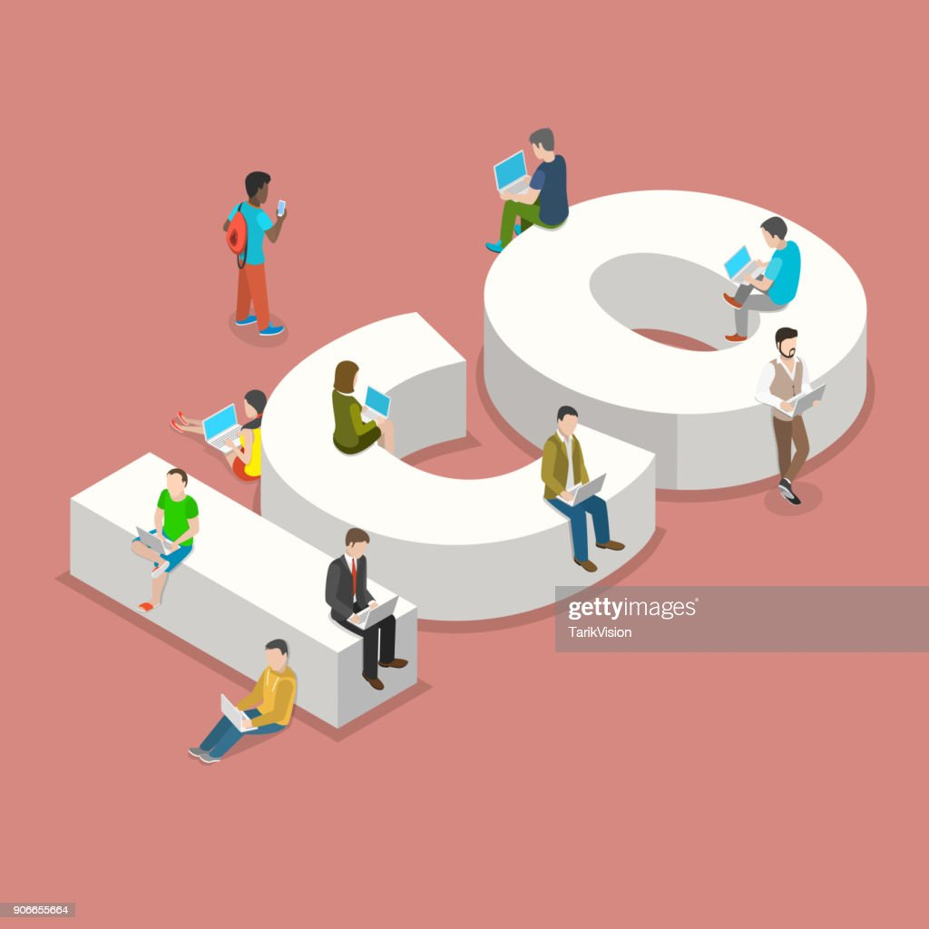 Initial coin offering flat isometric vector concept. People with laptops are sitting and standing around big letters ICO.