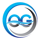 initial icontype company name blue and grey color on circle and swoosh design.