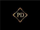 PD initial letter diamond shape golden logo
