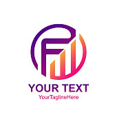 Initial letter FW logo template colorful circle swoosh design for business and company identity