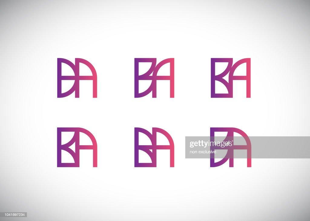Initial letter logo BA, AB, logo template