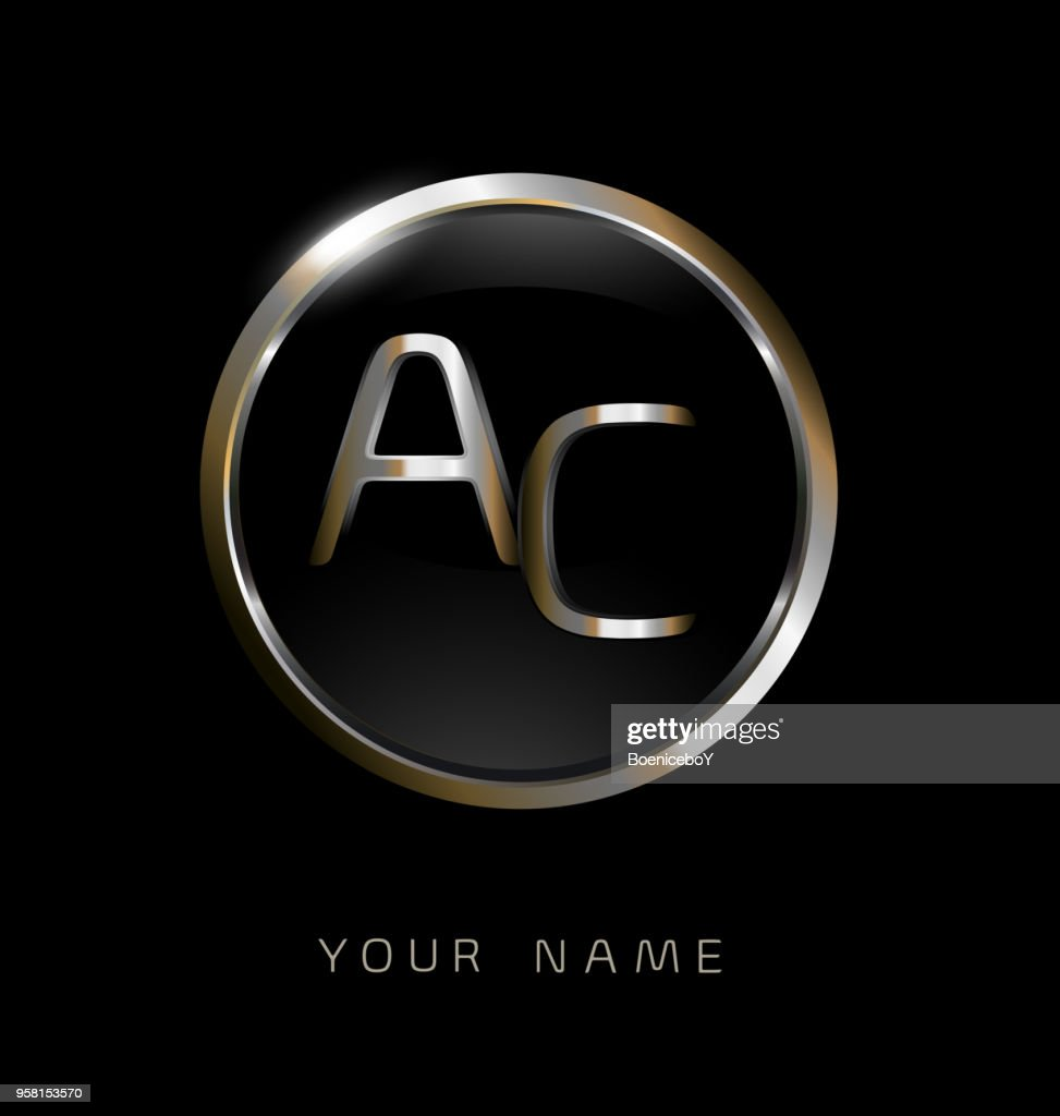 AC initial letters with circle elegant logo golden silver black background