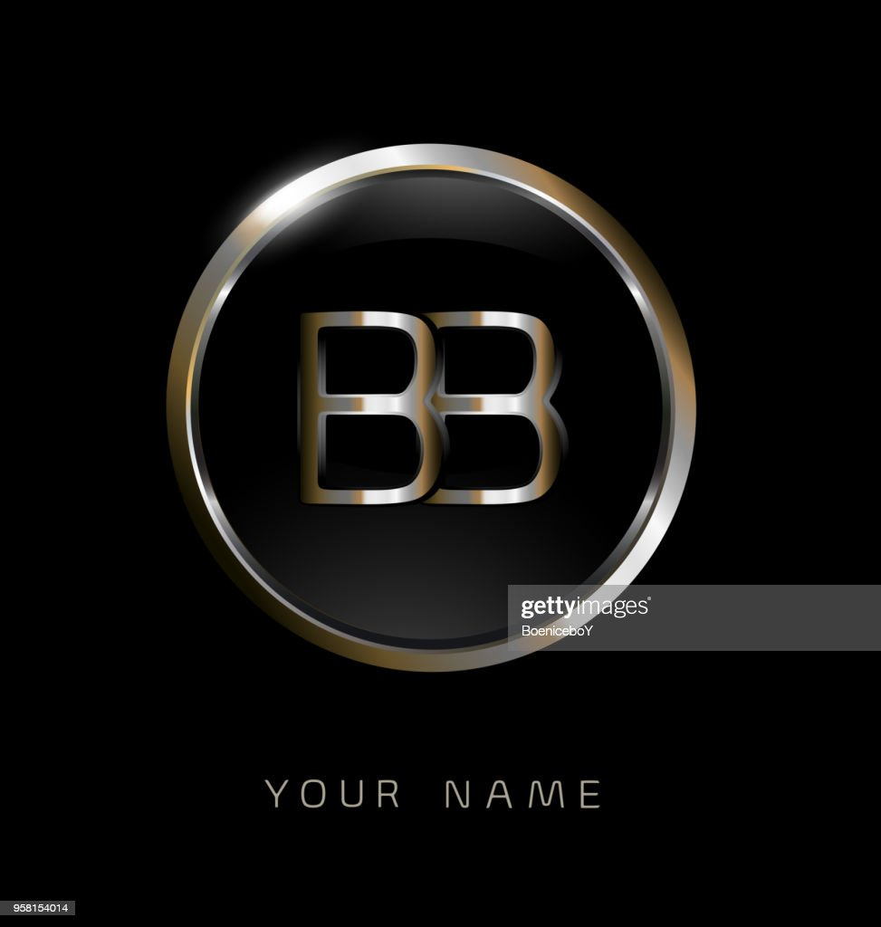 BB initial letters with circle elegant logo golden silver black background