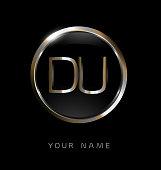 DU initial letters with circle elegant logo golden silver black background