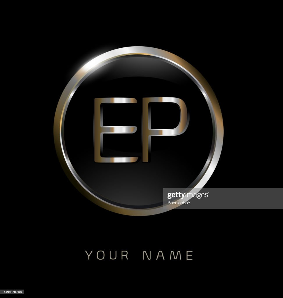 EP initial letters with circle elegant logo golden silver black background