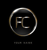 FC initial letters with circle elegant logo golden silver black background
