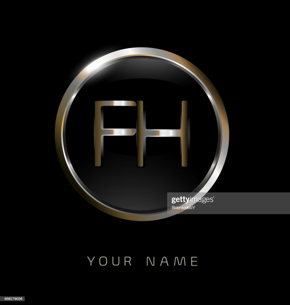 FH initial letters with circle elegant logo golden silver black background