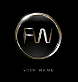 FW initial letters with circle elegant logo golden silver black background