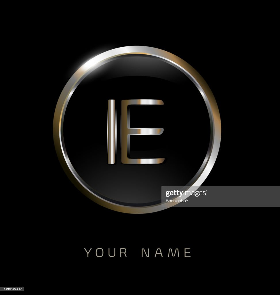 IE initial letters with circle elegant logo golden silver black background