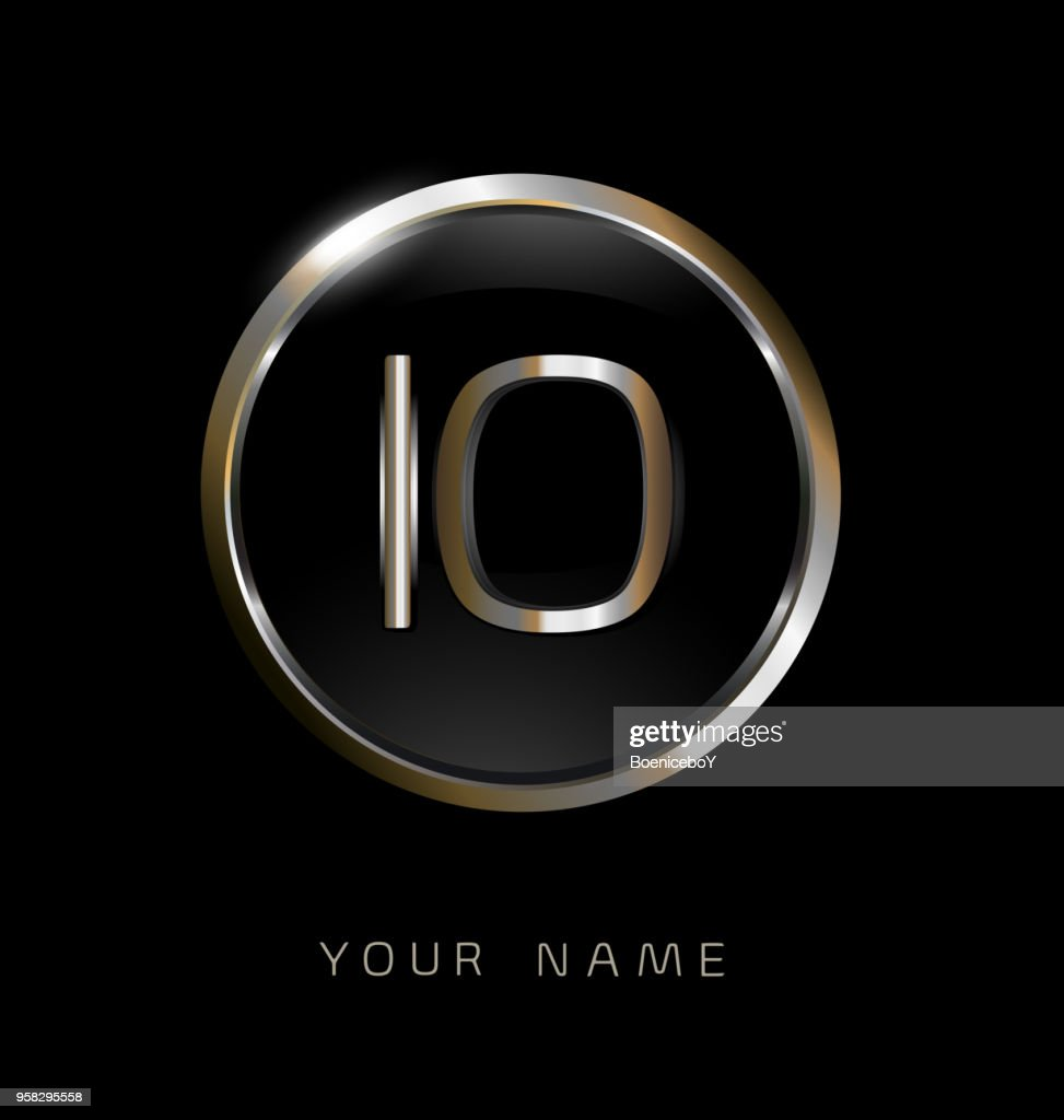 IO initial letters with circle elegant logo golden silver black background
