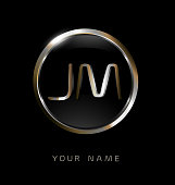 JM initial letters with circle elegant logo golden silver black background