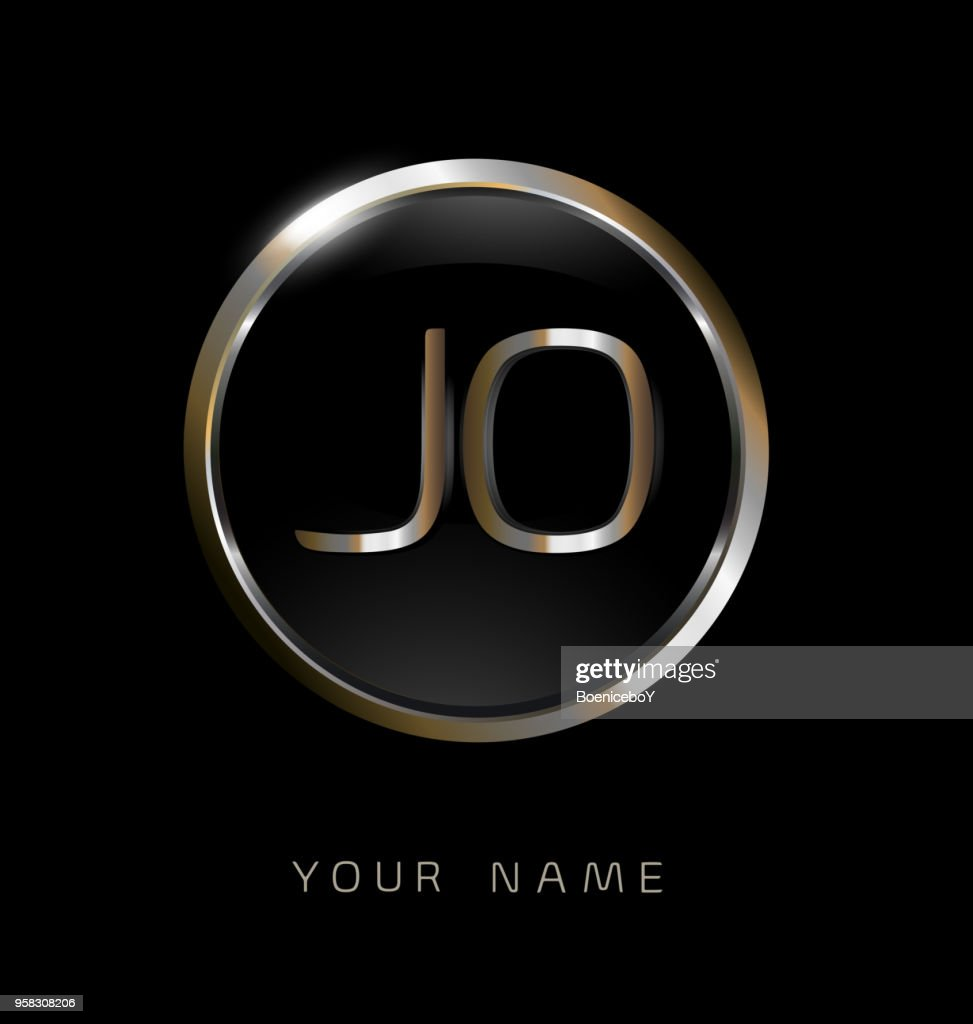 JO initial letters with circle elegant logo golden silver black background