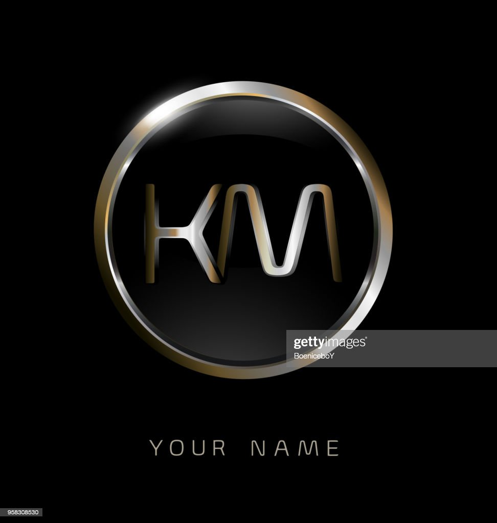 KM initial letters with circle elegant logo golden silver black background