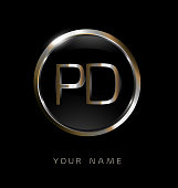 PD initial letters with circle elegant logo golden silver black background