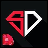 initials letter S & D in diamond shape