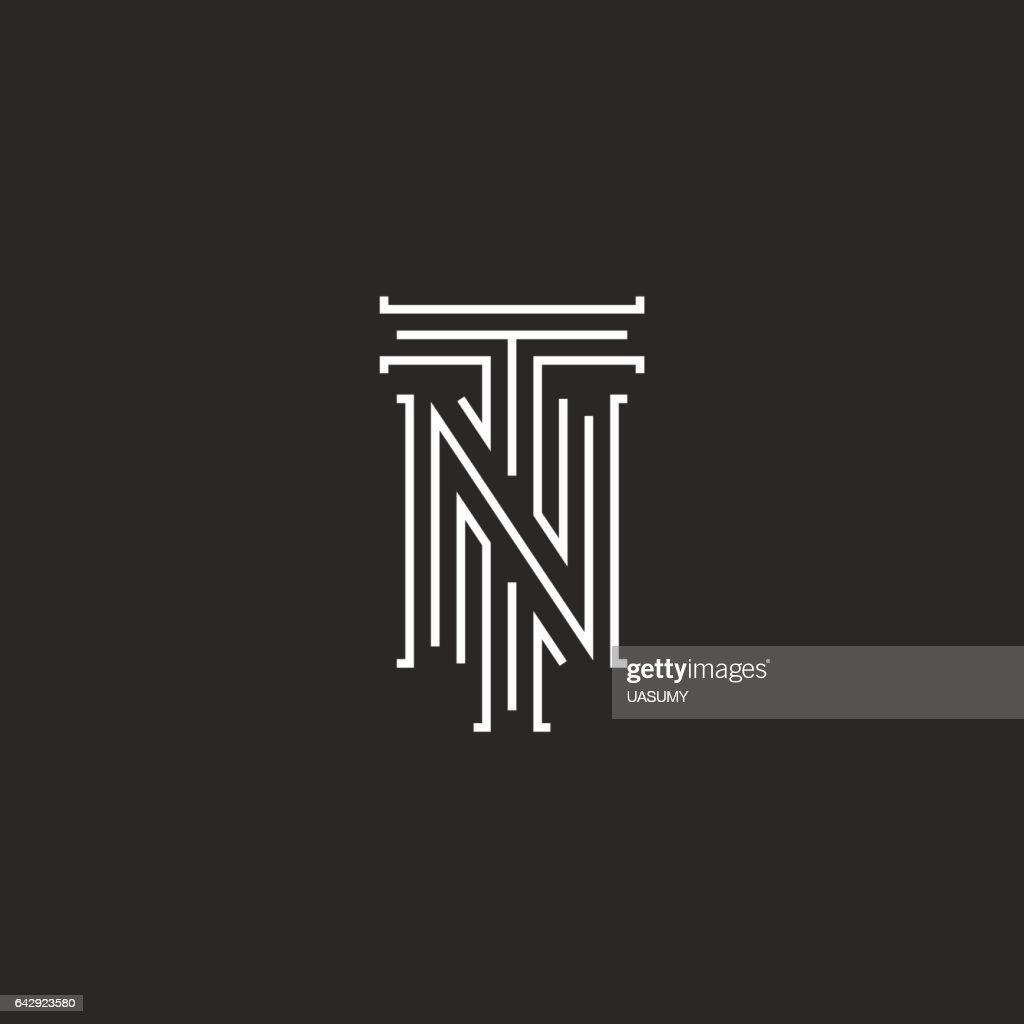 Initials NT letters logo, hipster monogram boutique emblem