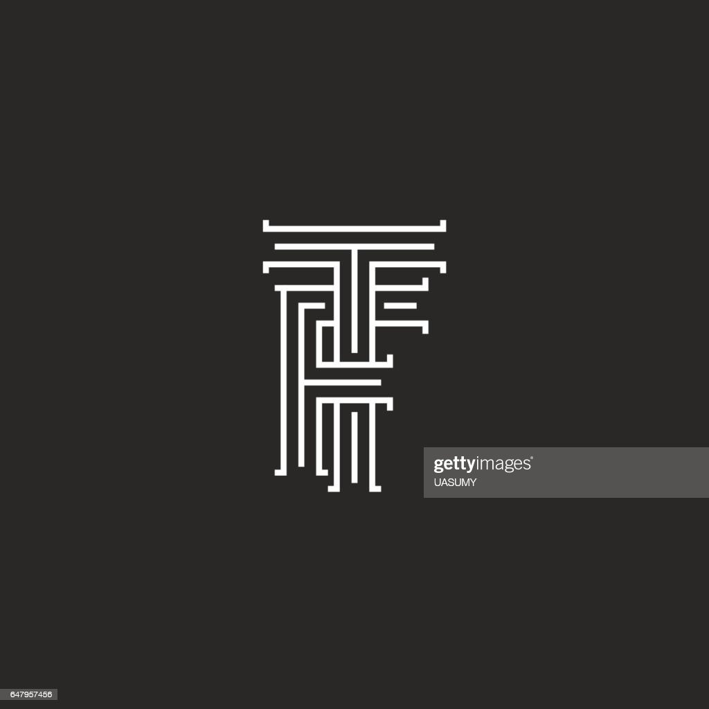 Initials TF letters monogram, line intersection calligraphic flat hotel emblem FT, combination connected symbols F T template