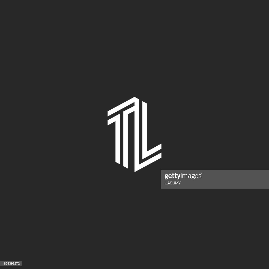 Initials TL letters , combination two capital letters T and L wedding emblem LT monogram, isometric parallel lines