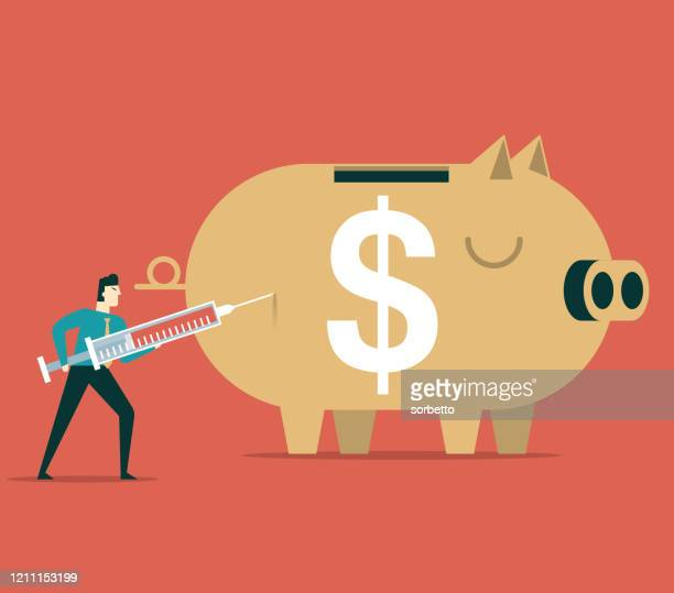 injecting into a big piggy bank - inflation stock illustrations