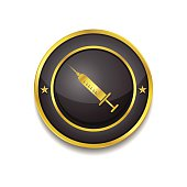 Injection Gold Vector Icon Button