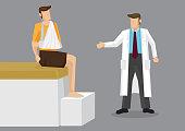 Injured Arm Doctor Consultation Cartoon Vector Illustration