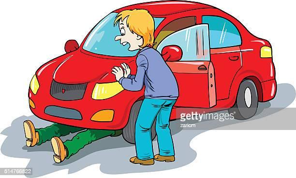 ilustraciones, imágenes clip art, dibujos animados e iconos de stock de heridas hombre y automóvil - car crash