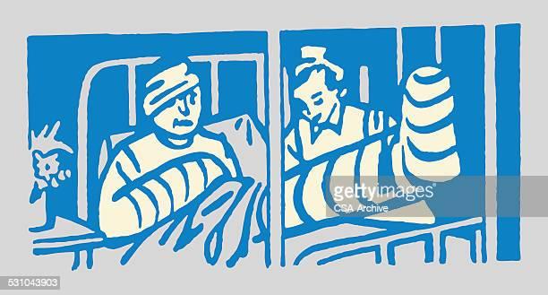 Injured Man in Hospital Bed