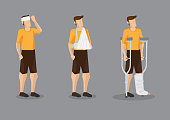 Injured Man Vector Character Illustration