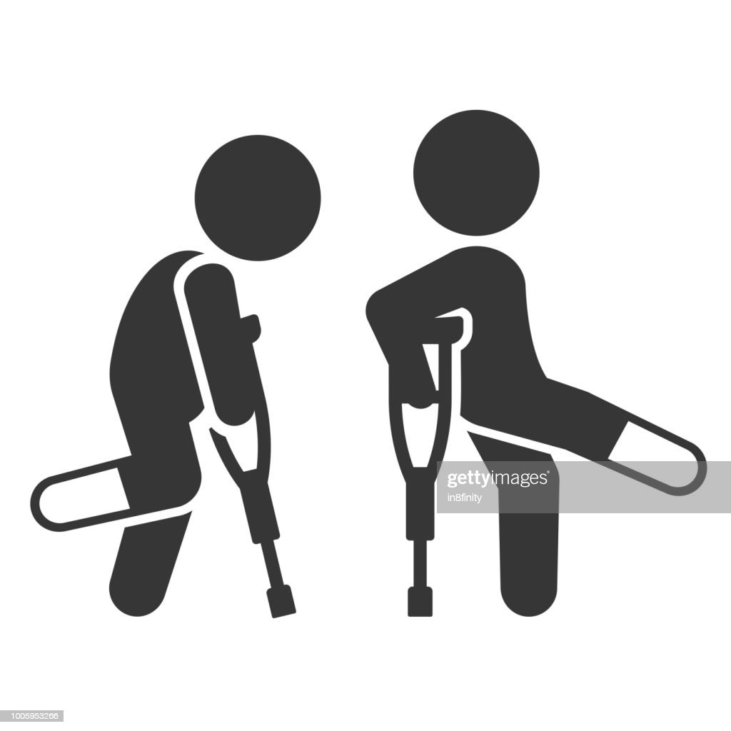 Injured Man with Crutches Icon Set. Vector
