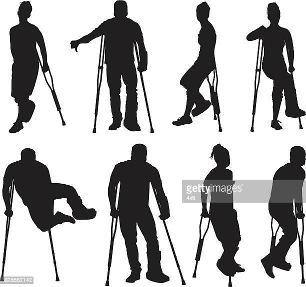 Injured people with crutches