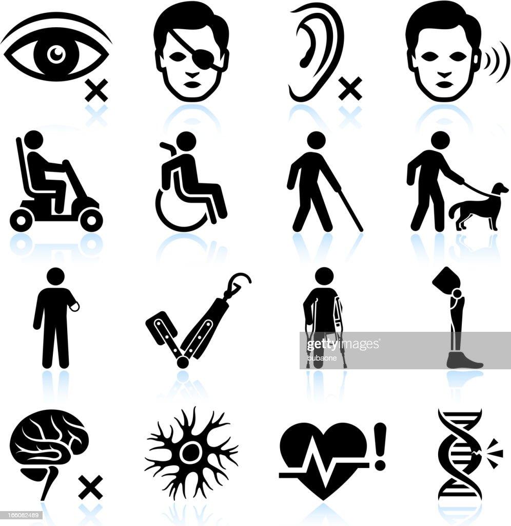 Lesión y la Discapacidad negro & conjunto de iconos de vector blanco : Ilustración de stock