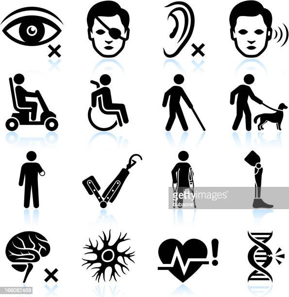 injury and disability black & white vector icon set - physical disability stock illustrations, clip art, cartoons, & icons