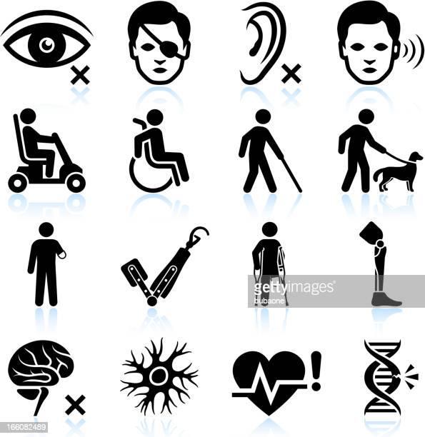 Lesión y la Discapacidad negro & conjunto de iconos de vector blanco