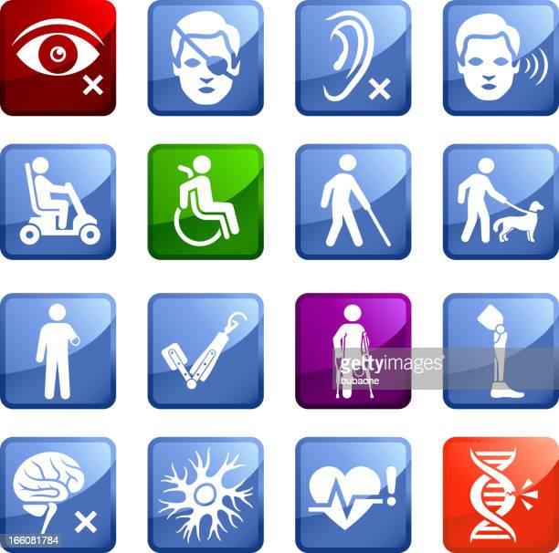 Lesión y la Discapacidad sin royalties de vector icon set pegatinas