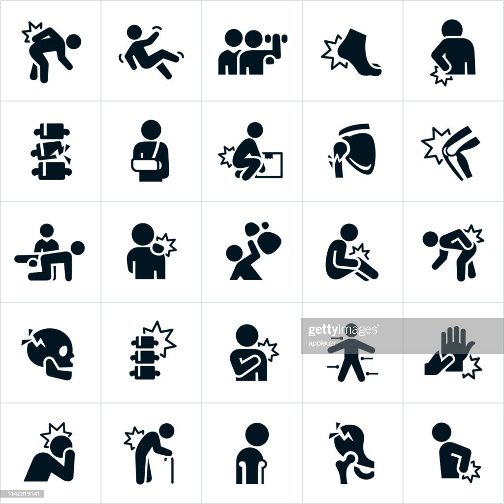 Injury and Pain Icons : stock illustration