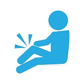 Injury man in bandage and wheelchair icon