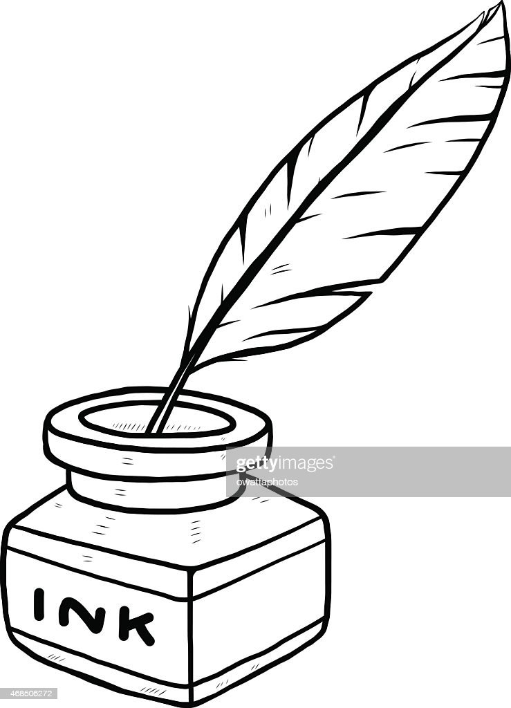 ink bottle and feather