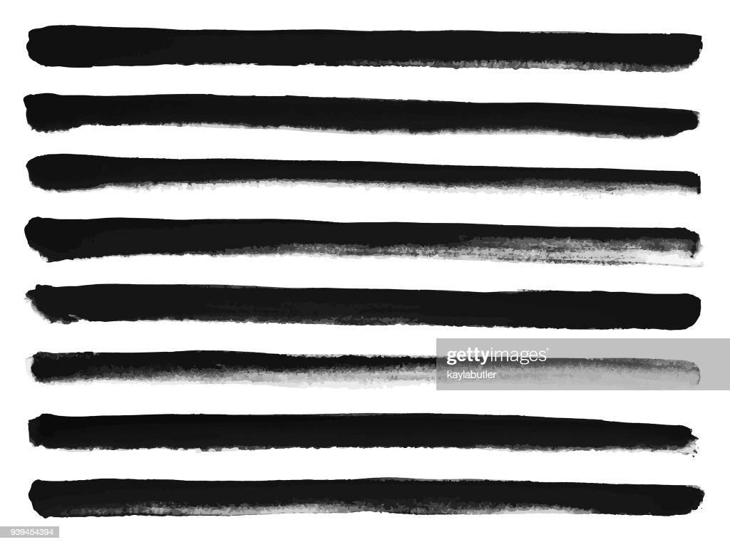 Drawing Straight Lines With Brush In Photo : Ink brush stroke set straight lines vector art getty images